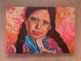 Arte Pintura Cuadro Decorativo Lienzo Niña Indigena Chiapas