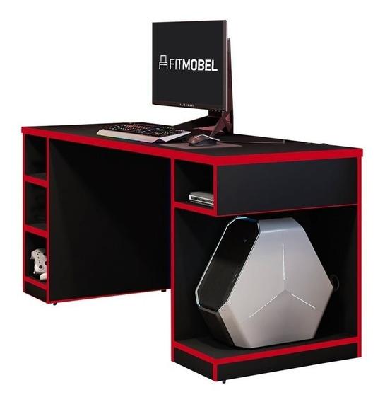 Mesa Para Computador Notebook Gamer Pro Preto/vermelho - Fit
