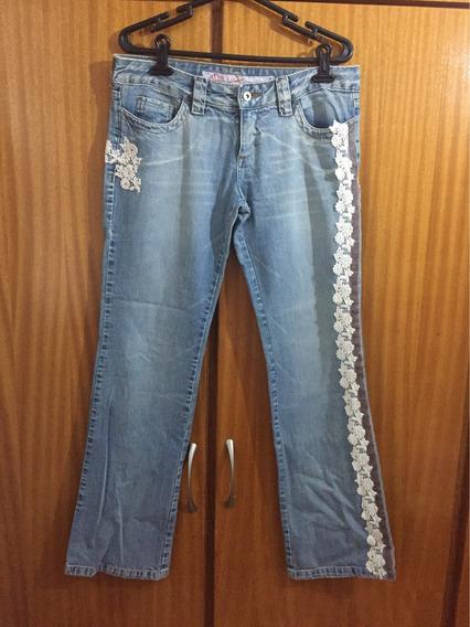 Calça Jeans Mob Com Renda Tamanho 42