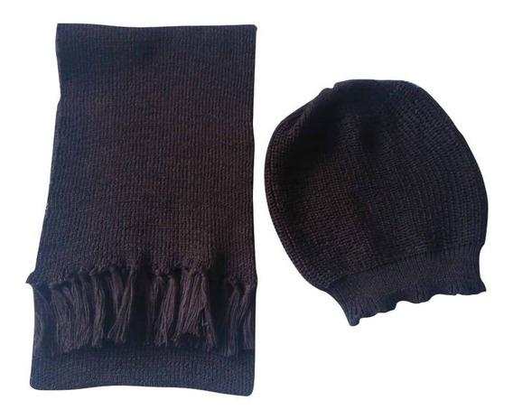 Conjunto Cachecol Com Touca Boina Feminino De Lã