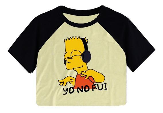 Remeras Ranglan Corta Pupera Mujer Los Simpson