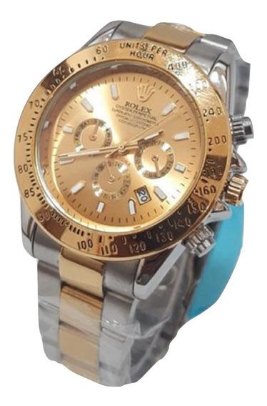 Relógio Daytona Masculino Prata Com Dourado Luxo