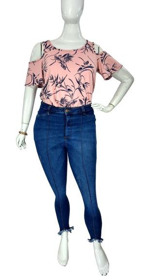 Calça Jeans Skinny Plus Size Feminina Cropped Cintura Alta