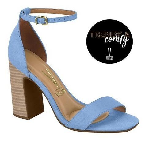 Sandália Azul-jeans Salto Grosso Vizzano