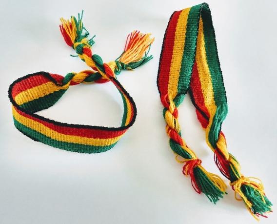 Pulseiras Reggae Média Jamaica (bob Marley) Kit Com 12 Unid.
