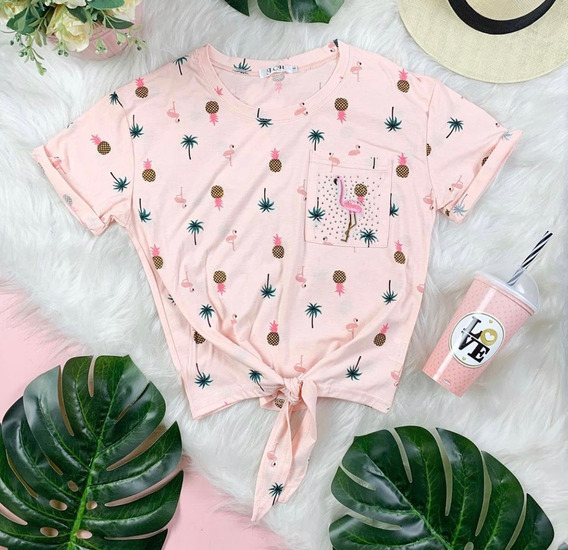 Blusa T-shirt Fem Algodao Bordado Flamingo Perolas Laco Vera