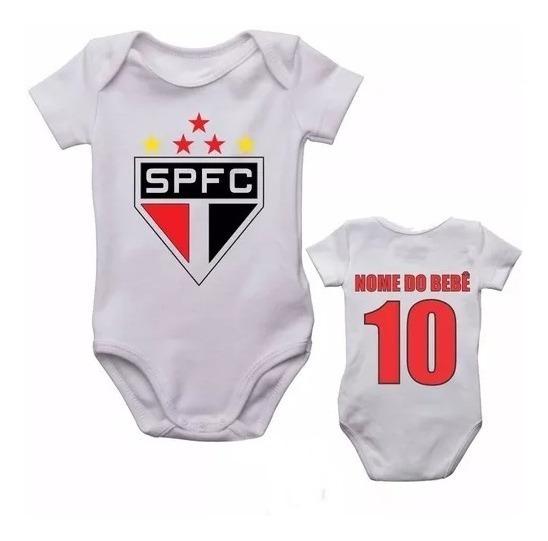 Body Infantil São Paulo Bebê Futebol Personalizado Com Nome