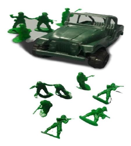 Imagen 1 de 7 de Set Combate Soldados Plastico Con Jeep 8 Soldados Dc271