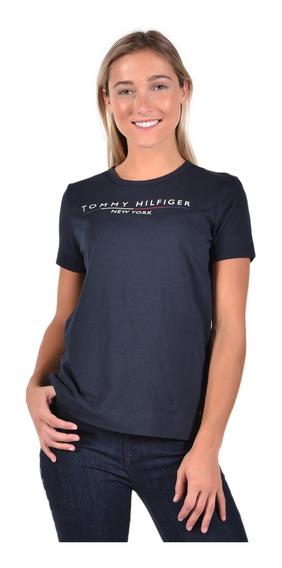 Playera Tommy Hilfiger Azul Ww0ww25603-403 Mujer