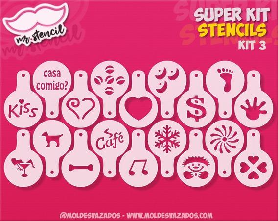 18 Pçs Stencil Barista P/ Decorar Café Bolo Biscoito Kit 3