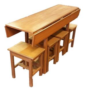 Mesa Desayunador 4 Banquetas, Extensible De 45 A 70 X 135cm
