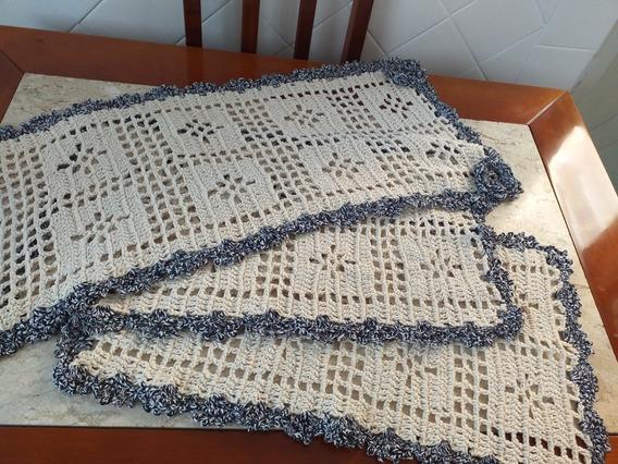 Jogo De Tapetes Para Cozinha Crochê Artesanal 3 Peças