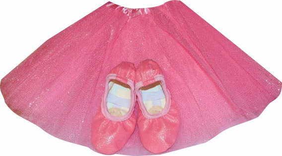 Tutu Brilloso Purpurina + Zapatilla Media Punta Glitter Ballet Danza Soko