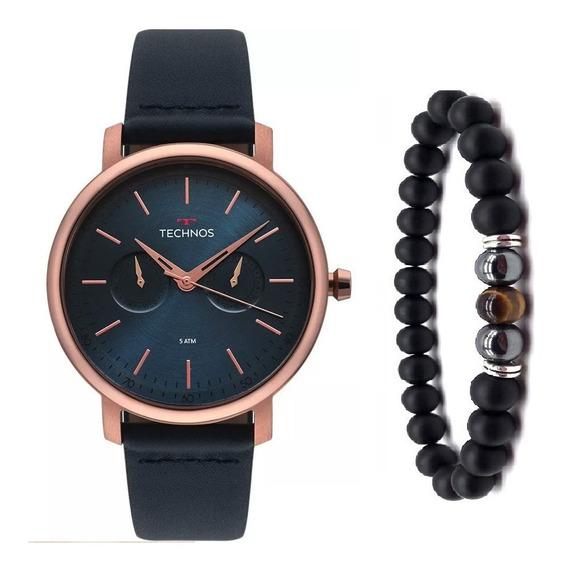 Relógio Technos Masculino Couro Azul 6p25bs/2a + Pulseira