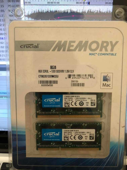 Memoria Crucial 16gb (2x8gb) Ddr3 Sodimm 1333mhz Macbook Pro