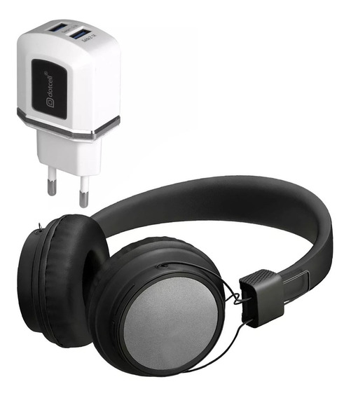 Kit Fone Bluetooth Cabo E Carregador 2 Usbs Turbo Cinza