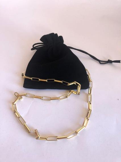 Cordão Corrente Veneziano Tijolinho Banhado Ouro 18k