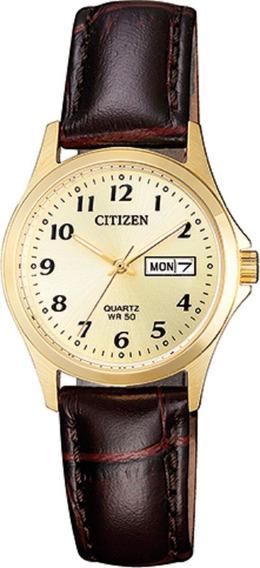 Relógio Feminino Citizen Tz28520x 26mm Couro Marrom