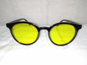 Lentes De Sol Dama Vintage Negro Y Amarillo Grandes