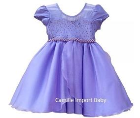 Vestido Infantil Festa Luxo Floral Princesa Marsha Com Tiara