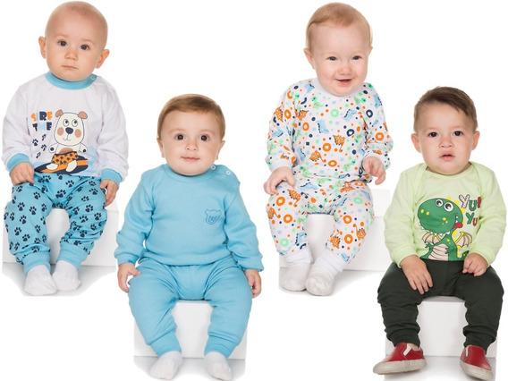 Pijama Bebê Menino Kit 4 Conjuntos Pijama Longo De Inverno