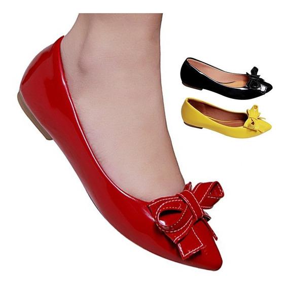 Sapatilha Feminina Bico Fino Rasteira Vermelha Preto Amarela