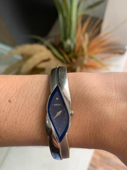Relogio Feminino Seiko Original Prateado Com Fundo Azul
