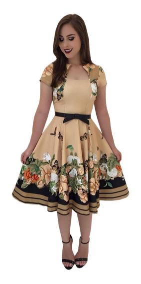 Vestido Evangelico Midi Boneca Princesa Brinde Cinto Retro