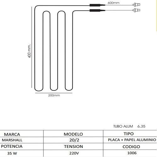 Resistencia Heladera Aluminio Placa 20/02 Marshall