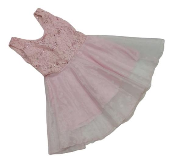 Vestido Nena Niña Rosa Local En Caballito Princesa Isabella