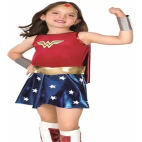 Disfraz Mujer Maravilla Niña Completo Incluye Cubre Botas