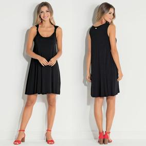 Vestido Feminino Curto Preto Básico Casual Soltinho Barato