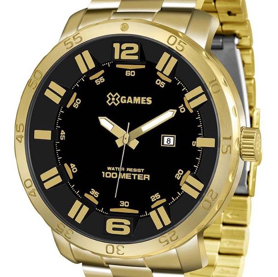 Relógio X-games Grande Dourado Masculino Xmgs1022 P2kx + Nf