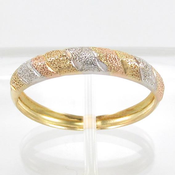 Esfinge Jóias - Anel Design Três Cores Aro18 Em Ouro 18k 750