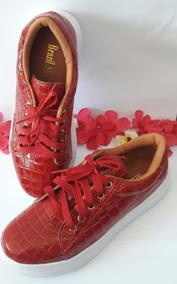 Tenis Croco Brazil Shoes Vermelho Verniz Promoção