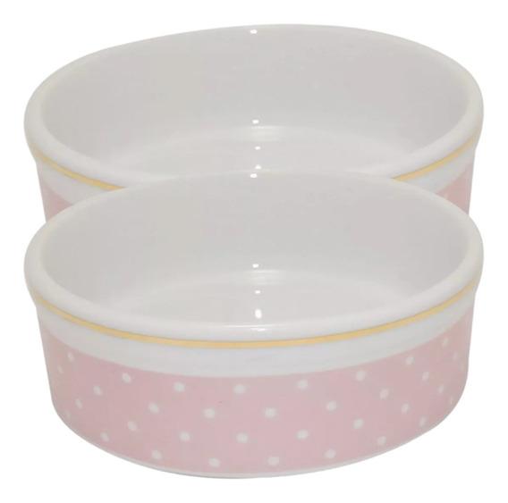 2 Tigela Rosa Comedouro Cães E Gatos Porcelana 600ml Ref 308