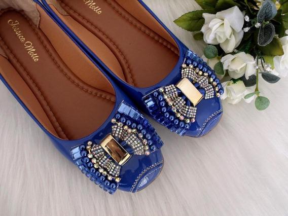 Sapatilha Azul Royal Pedraria Bico Quadrado Jessica Mello