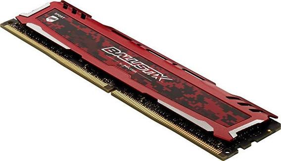 Combo 12 Gb Memória Ram Ddr4 Crucial Ballistix Sport 4gb + 8gb 2400mhz Vermelha