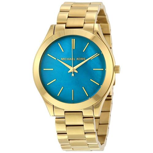 Relógio Michael Kors Feminino Slim Mk3492/4vi Azul Dourado