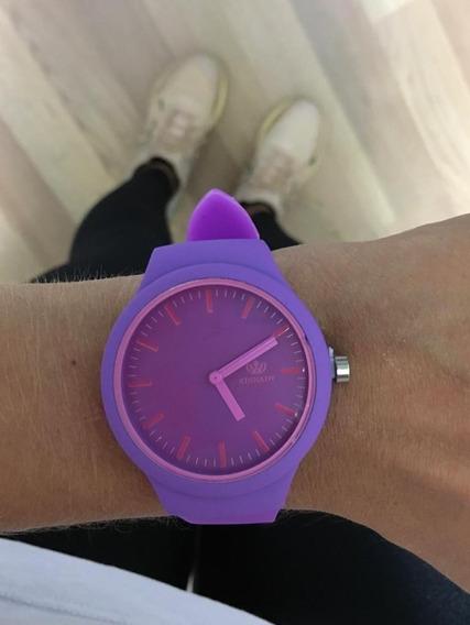 Relógio Esportivo Silicone Roxo Barato Promoção
