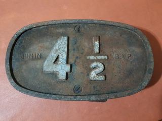 Señal Cartel Ferrocarril Antiguo Km, Fundicion. Pesado