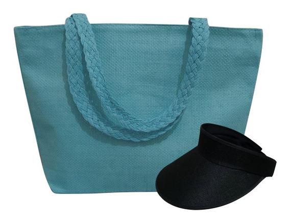 Viseira Praia Feminina + Bolsa Sacola Ombro Kit