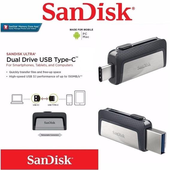 Sandisk Pendrive Dual Drive Tipo C Original 32gb Moto Z2 Z3