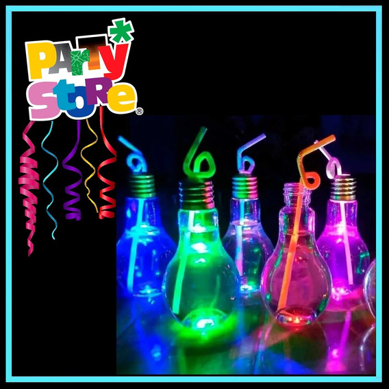 Party Store- 10 Vasos Lampara Trago Luminoso Led Cotillon