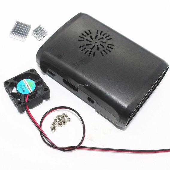 Case Para Raspberry Abs Preto +cooler +2 Dissipadores!
