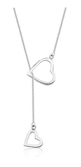 Gargantilha Gravatinha Coração Colar Em Prata 925