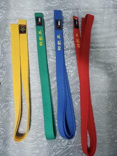 Kit Com 4 Faixas Taekwondo. Verde, Vermelha, Amarela E Azul