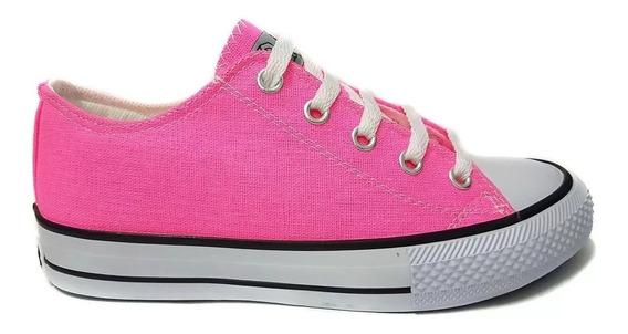 Zapatillas Plataformas Lona Dama Star Rosa Fluor 35 Al 40