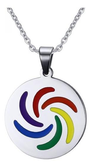 Colar Masculino Feminino Colorido Arco-íris Aço Inox 50 Cm