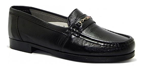 Sapato Mocassim Abc 107 Masculino Couro Legítimo - Preto